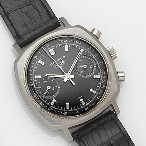 Heuer. A stainless steel manual wind chronograph wristwatch Camaro, Ref:7743T, Case No.168995, Circa 1970