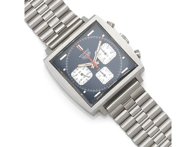Heuer. A stainless steel manual wind chronograph bracelet watch Monaco, Ref:73633B, Case No.166083, Circa 1972
