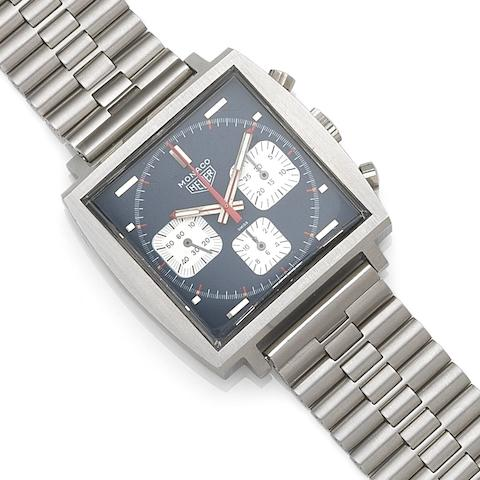 Heuer. A stainless steel manual wind chronograph bracelet watchMonaco, Ref:73633B, Case No.166083, Circa 1972