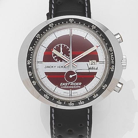 Heuer. A chrome plated steel manual wind calendar chronograph wristwatchJacky Ickx Easy-Rider, Ref:429801R, Circa 1972