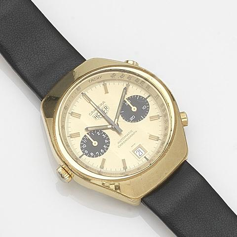 Heuer. A gold plated automatic calendar chronograph wristwatchCarrera, Ref:110.515CHN, Circa 1974