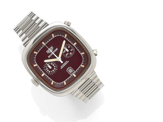 Heuer. A stainless steel automatic calendar chronograph bracelet watch Silverstone, Ref:110313R, Case No.309769, Circa 1974