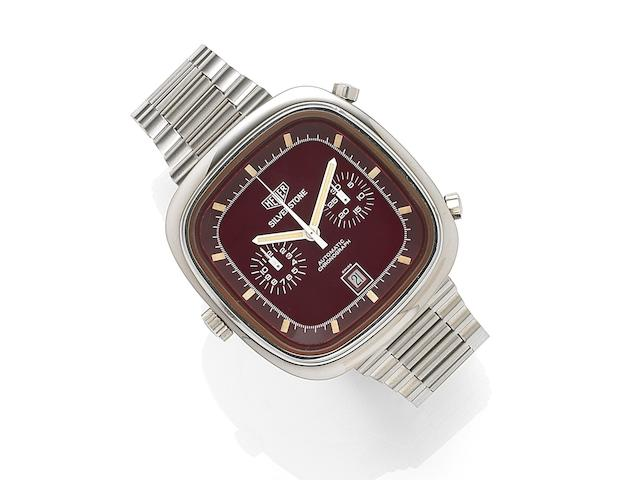 Heuer. A stainless steel automatic calendar chronograph bracelet watchSilverstone, Ref:110313R, Case No.309769, Circa 1974