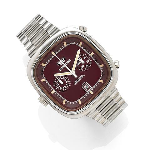 Heuer. A stainless steel automatic calendar chronograph bracelet watchSilverstone, Ref:110313R, Case No.309769, Circa 1974