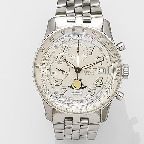 Breitling. A stainless steel automatic calendar chronograph bracelet watch with box and papers Montbrilliant Eclipse, Ref:A43030, Case No.0438, Sold 16th October 1999