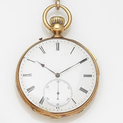 Unsigned. An 18ct gold keyless wind repeating open face pocket watch Case No.37697, Case and Movement No.35118, Circa 1890