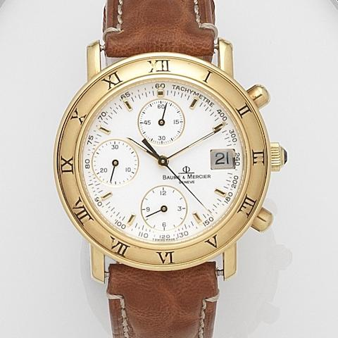 Baume & Mercier. An 18ct gold automatic calendar chronograph wristwatchBaumatic, Ref:86104, Case No.1690744, Circa 1990