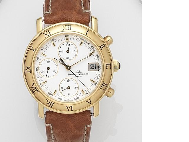 Baume & Mercier. An 18ct gold automatic calendar chronograph wristwatch Baumatic, Ref:86104, Case No.1690744, Circa 1990