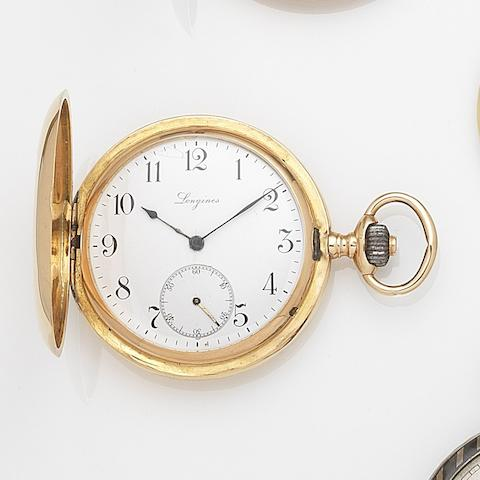 Longines. An 18ct gold keyless wind half hunter pocket watch Case and Cuvette No.1084406, Circa 1890
