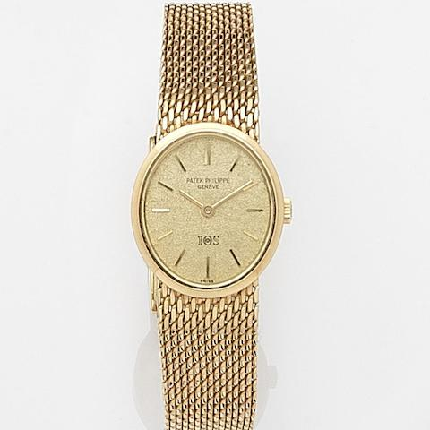 Patek Philippe. A lady's 18ct gold manual wind bracelet watch 'IOS', Ref:4109/1, Case No.2683291, Movement No.999304, Circa 1970