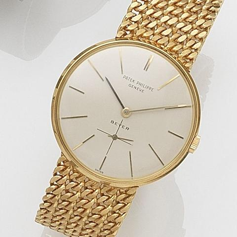 Patek Philippe. An 18ct gold manual wind bracelet watchRetailed by Beyer, Ref:2573/2, Movement No.1144564, Sold 27th May 1970