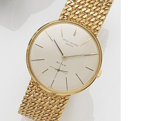 Patek Philippe. An 18ct gold manual wind bracelet watch Ref:2573/2, Movement No.1144564, Retailed by Beyer, Sold 27th May 1970