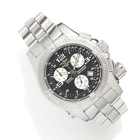 Breitling. A stainless steel quartz calendar 1/100th second chronograph bracelet watch with micro antenna for the aviation emergency frequency 121.5 MHz with box and papersEmergency Mission, Ref:A73321, Case No.743458, Sold 1st August 2008