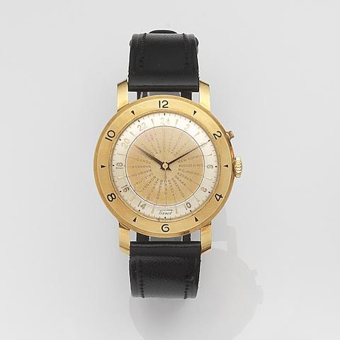 Tissot. An 18ct gold automatic world time wristwatchNavigator, Case No.4041530, Movement No.2798670, Circa 1950