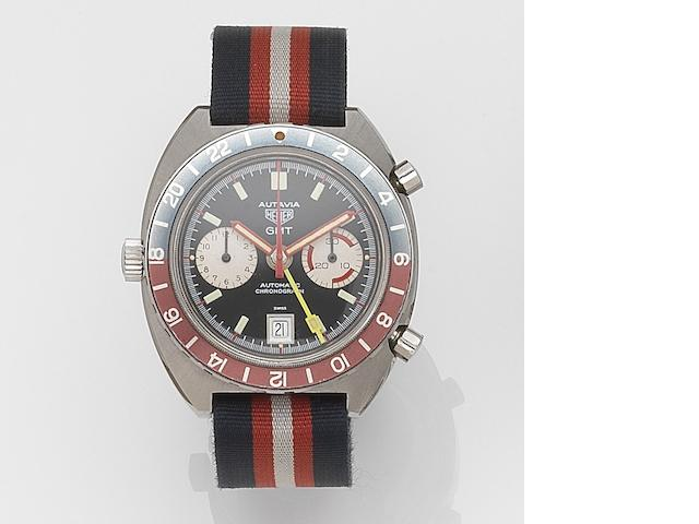 Heuer. A stainless steel automatic calendar chronograph wristwatch with second time zone Autavia GMT, Ref:1163GMT, Case No.247835, Circa 1971