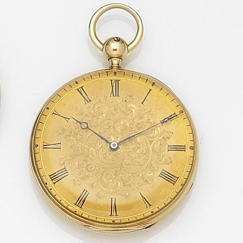John B. Crofs, London. An 18ct gold key wind quarter repeating open face pocket watch Case and Movement No.6532, London Hallmark for 1847
