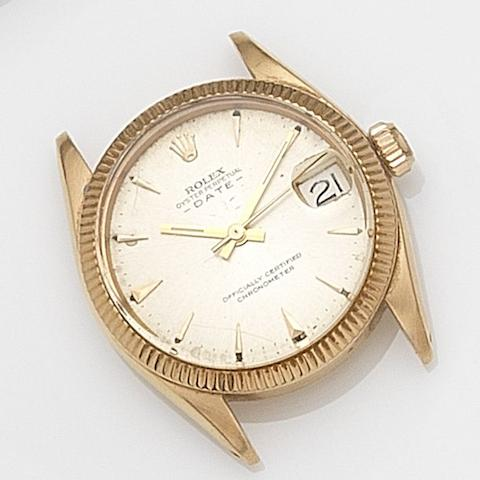Rolex. An 18ct gold automatic calendar bracelet watch Date, Ref:6627, Case No.411***, Circa 1959
