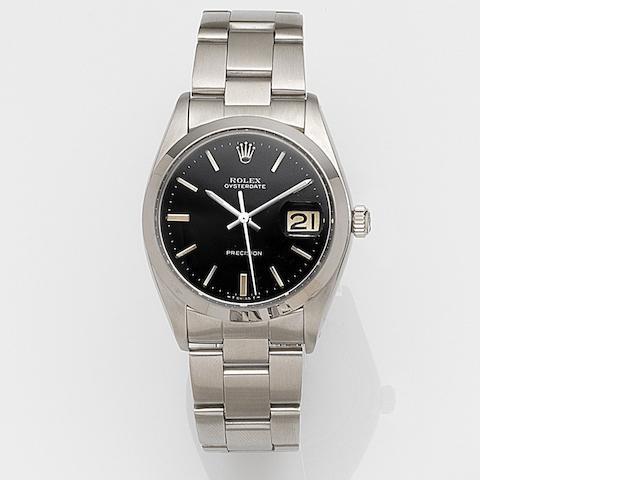 Rolex. A stainless steel manual wind calendar bracelet watch Oysterdate, Ref:6694, Case No.421****, Circa 1975
