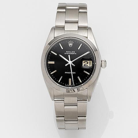 Rolex. A stainless steel manual wind calendar bracelet watch Oysterdate, Ref:6694, Case No.421****, Circa 1975