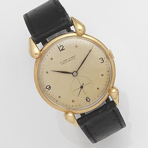 Ulysse Nardin. An 18ct gold manual wind wristwatchCase No.840070, Movement No.526073, Circa 1950