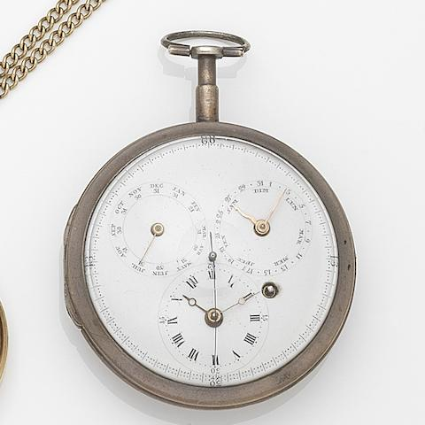 Swiss. A silver key wind calendar open face pocket watchCirca 1800