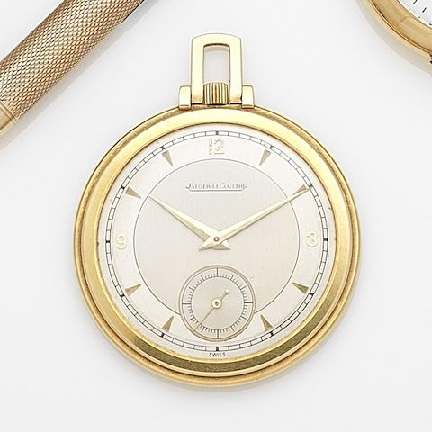 Jaeger-LeCoultre. An 18ct gold keyless wind open face pocket watch Case No.101781, Movement No.209131, Circa 1950