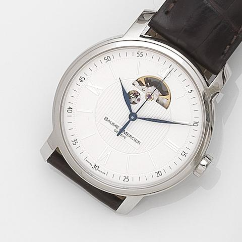 Baume & Mercier. A stainless steel automatic centre seconds wristwatch together with box and papersClassima 8688, Ref:65558, Case No.5366751, Sold 21st November 2012