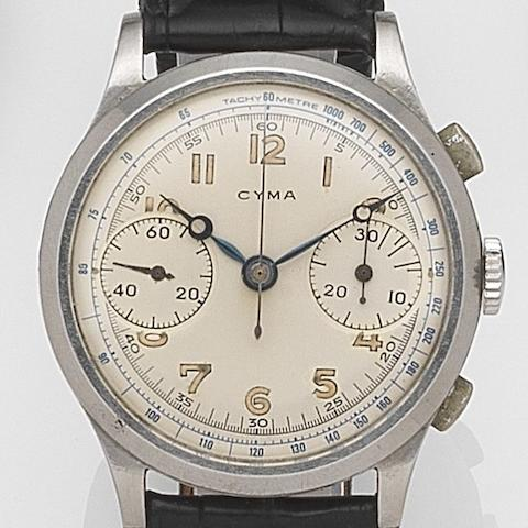 Cyma. A stainless steel manual wind chronograph wristwatchRef:400L, Circa 1950