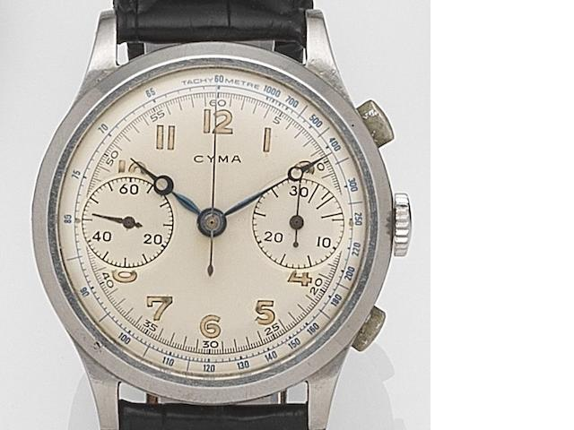 Cyma. A stainless steel manual wind chronograph wristwatch Ref:400L, Circa 1950