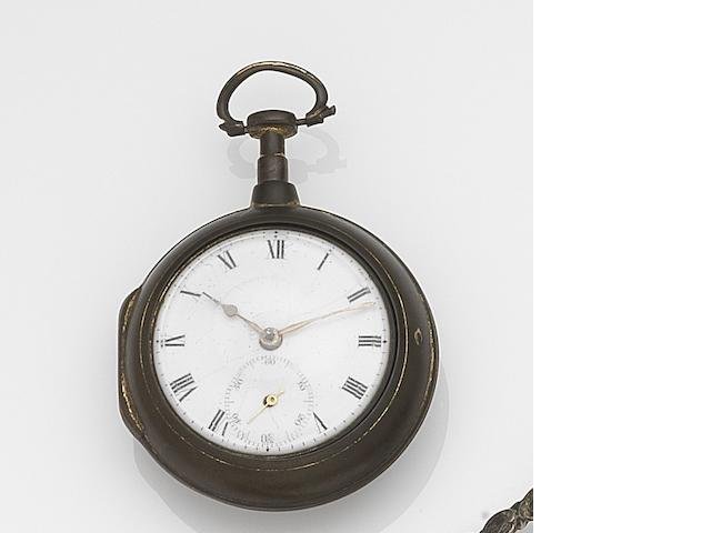 Benjamin Gray, Justin Vulliamy, London. A gilt metal key wind pair case pocket watch Circa 1750