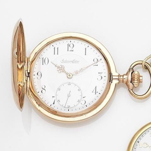 Audemars Freres, Brassus & Geneva. A 14ct gold keyless wind full hunter pocket watch Case No.151160, Circa 1915
