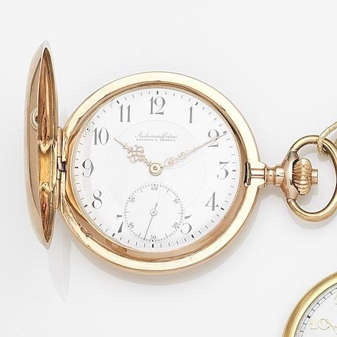 Audemars Freres, Brassus & Geneva. A 14ct gold keyless wind full hunter pocket watch Case No.151160, Circa 1915