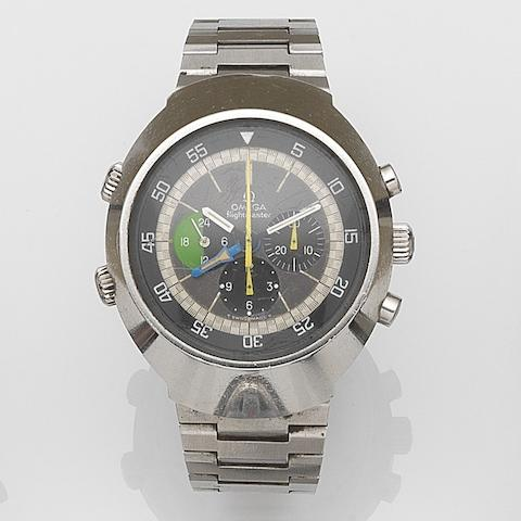 Omega. A stainless steel manual wind chronograph bracelet watch with second time zone Flightmaster, Ref:145.013, Movement No.29130890, Circa 1970
