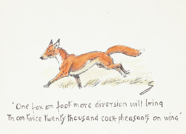 Charlie Johnson Payne, 'Snaffles' (British, 1884-1967) 'One fox on foot...', Christmas card