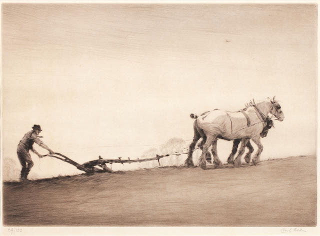 Cecil Charles Windsor Aldin, RBA (British, 1870-1935) Ploughing