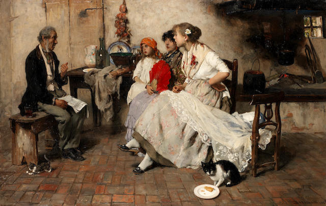 Vittorio Emanuele Bressanin (Italian, 1860-1841) Breaking the news