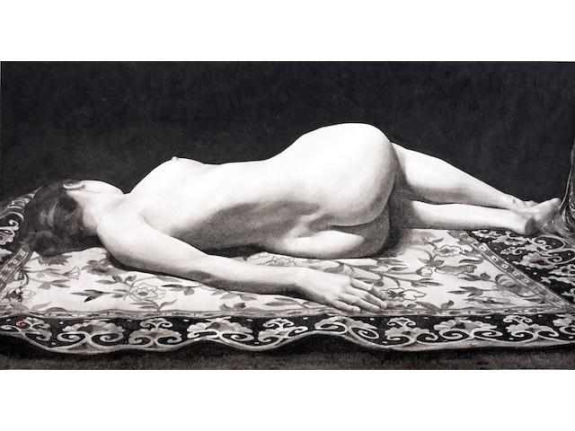 Qu Lei Lei-Reclining Figure On Eastern Rug