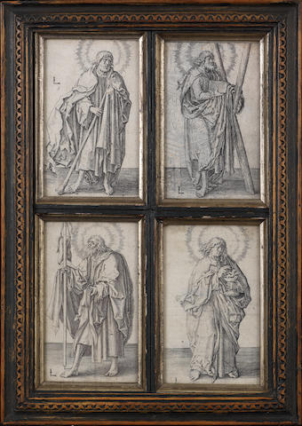 Lucas van Leyden (Dutch, 1494-1533) Four Engravings from 'Christ and the Apostles' St Andrew, St John the Evangelist, St James the Greater, St Judas Thaddeus, c.1510 4