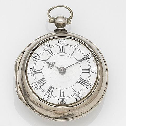 Hugh Gordon, Aberdeen. A silver key wind pair case pocket watch Movement No.193, London Hallmark for 1754