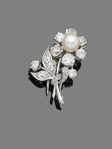 A cultured pearl and diamond clip brooch
