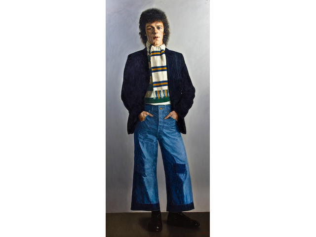 Frank Johnson (British, Leicester 1917-1998 Bradford) Portrait of Carl Hunt, standing full length wearing bell bottoms and a Leeds United scarf,