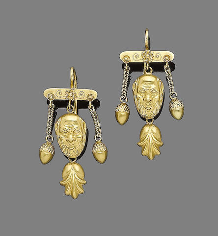 A pair of late 19th century gold pendent earrings,