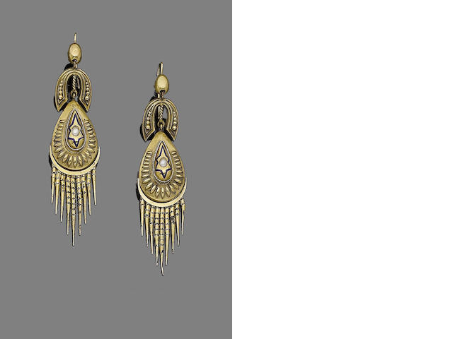A pair of enamel and seed pearl pendent earrings,