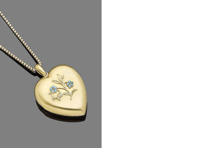 A late 19th century gem-set locket pendant necklace