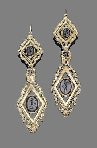 A pair of onyx intaglio pendent earrings