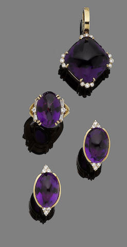An amethyst and diamond ring, pendant and earclip suite, by Gump's (3)