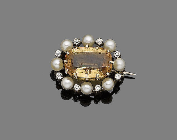 A late 19th century topaz, pearl and diamond brooch