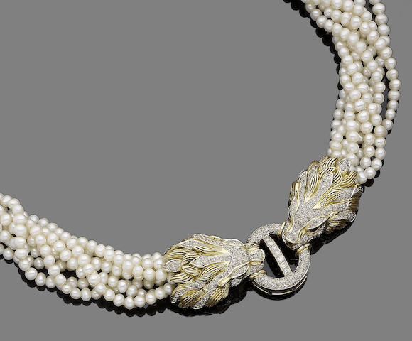 A cultured pearl, ruby and diamond-set torsade necklace