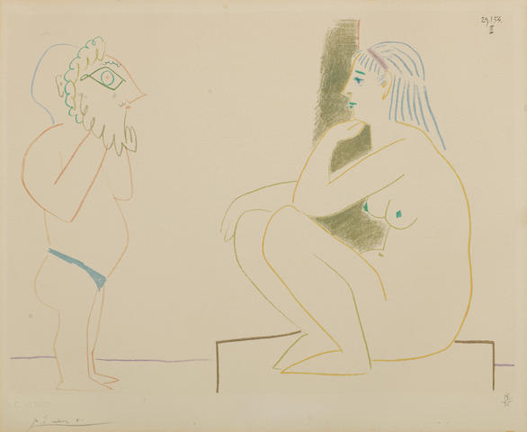 Pablo Picasso (Spanish, 1881-1973) Untitled, from Verve Nos 29-30 Lithograph printed in colours, 1954, on Arches, signed and numbered 18/75 in pencil, published by Editions Verve, with their blindstamp lower right, 240 x 320mm (9 1/2 x 12 1/2in)(I)