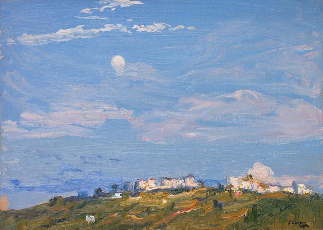 Sir John Lavery R.A., R.S.A., R.H.A. (1856-1941) Moonrise; Tangier 25.1 x 35.3 cm. (9 7/8 x 13 7/8 in.)